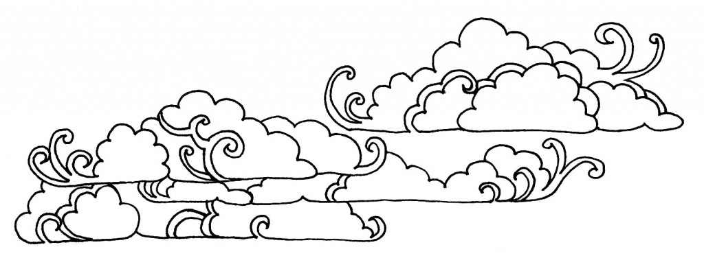 Line Drawing Clouds : Cloud line drawing