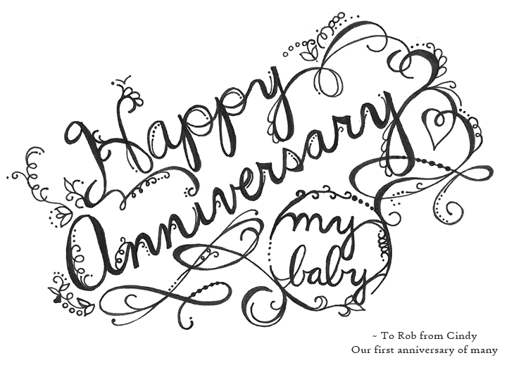 Happy Anniversary Lettering by Cynla
