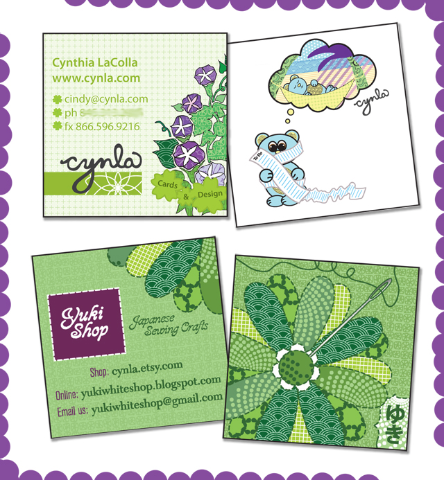 Cynla & Yukishop Business Card Designs