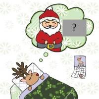 Cute Reindeer Santa Card by Cynla