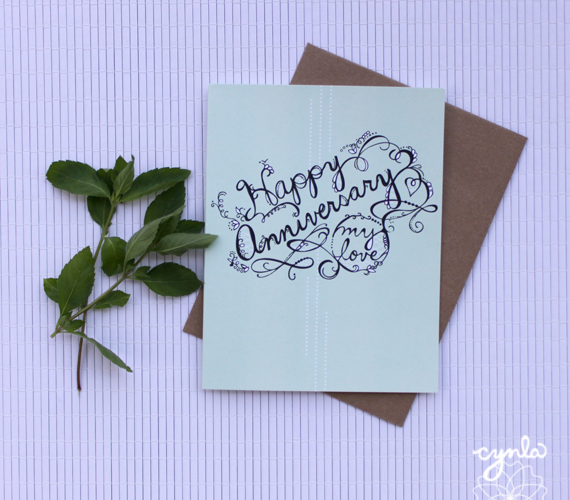 Happy Anniversary card by Cynla #handlettering