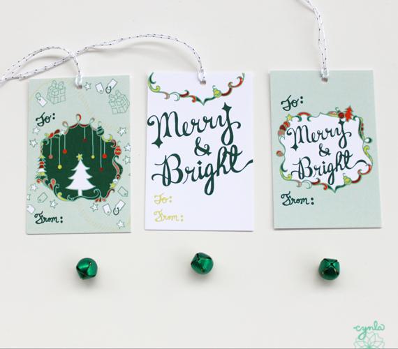 cynla merry & bright tags