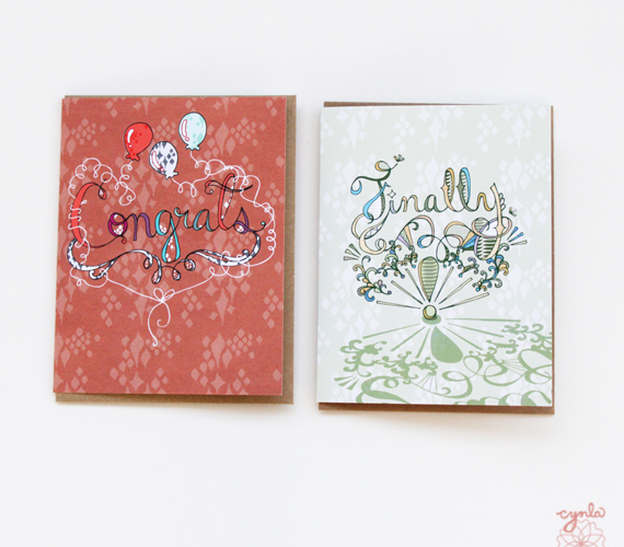 congrats and Finally cards by cynla