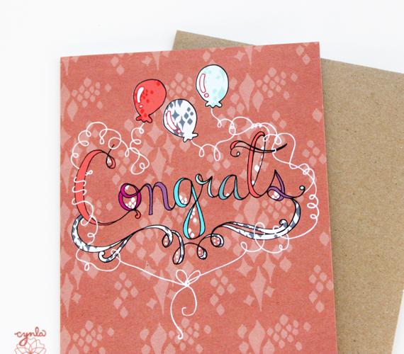 cynla Congrats balloons card