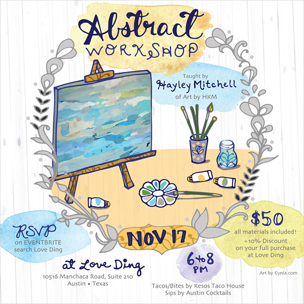 abstract Workshop invite illustration by Cynla